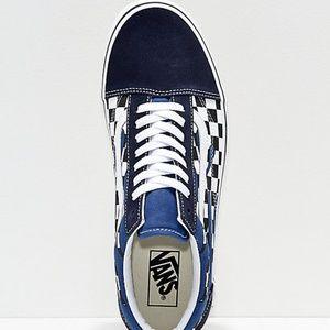 3b98f79fe8 Vans Shoes - Vans Old Skool Checkerboard Flame Navy White Shoes